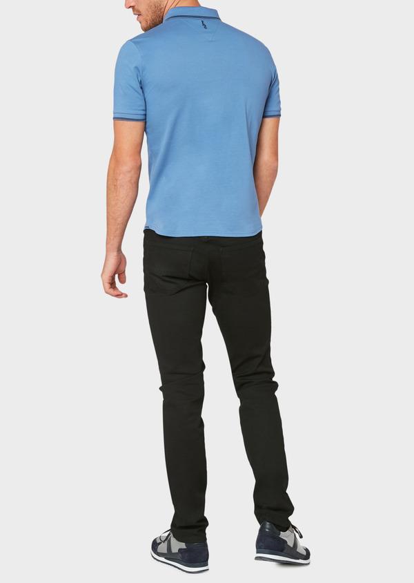 Polo manches courtes Slim en coton uni bleu - Father and Sons 33939