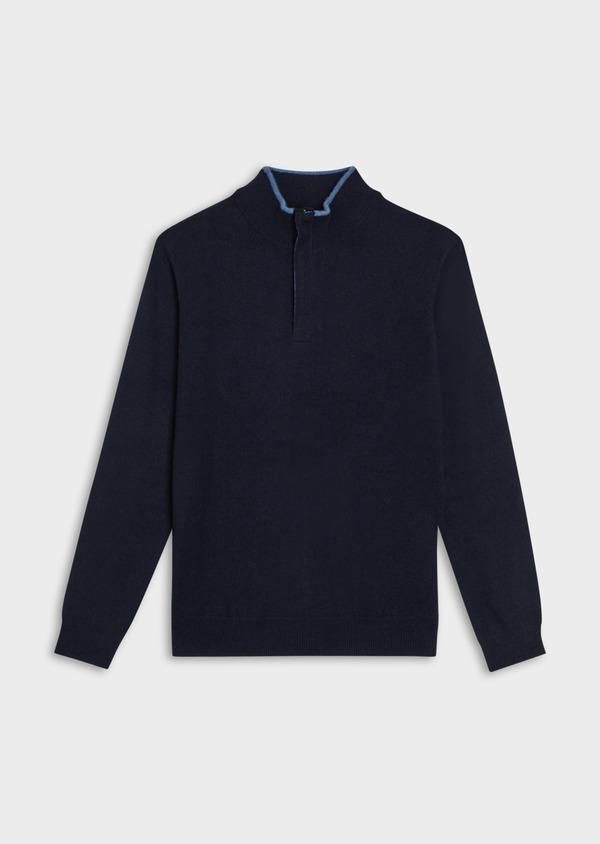 Pull en cachemire col zippé uni bleu marine - Father and Sons 35442