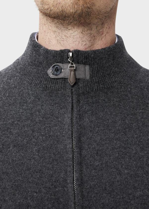 Gilet zippé en cachemire uni gris - Father and Sons 35471