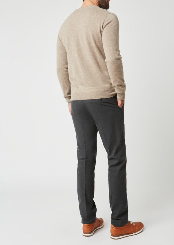 Pull en cachemire col rond uni beige - Father and Sons 28152