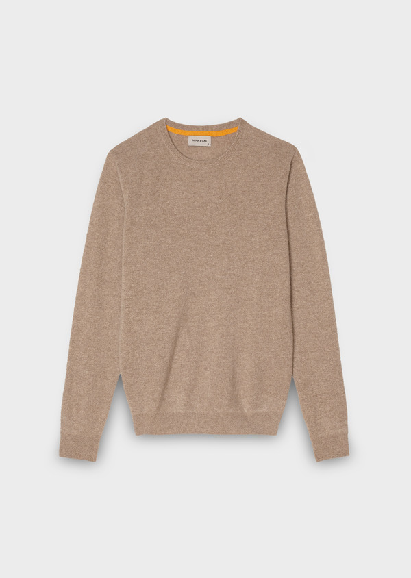Pull en cachemire col rond uni beige - Father and Sons 28149