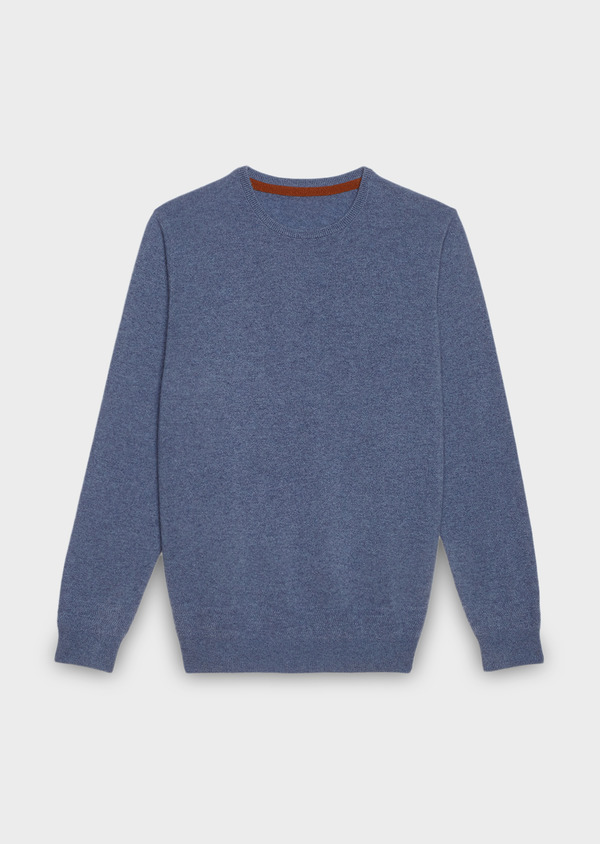 Pull en cachemire col rond uni bleu - Father and Sons 27098