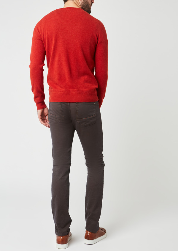Pull en cachemire col rond uni orange - Father and Sons 28158