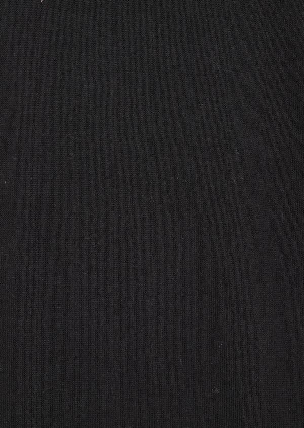 Pull en coton mélangé col montant boutonné uni noir - Father and Sons 36812