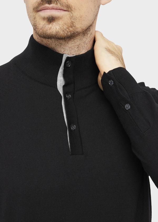 Pull en coton mélangé col montant boutonné uni noir - Father and Sons 36815