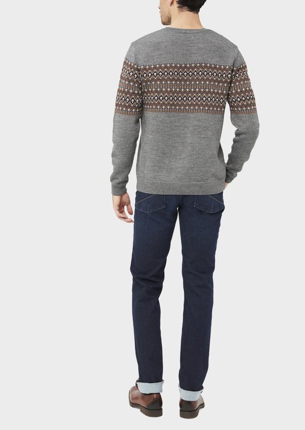 Pull en laine mélangée col rond gris à motifs géométriques - Father and Sons 36824