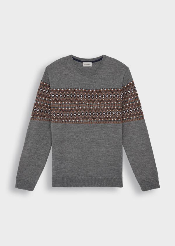 Pull en laine mélangée col rond gris à motifs géométriques - Father and Sons 36821
