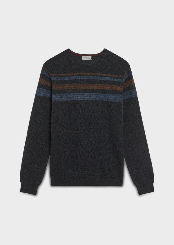 Pull en laine Mérinos mélangée col rond gris anthracite à rayures - Father and Sons 36196