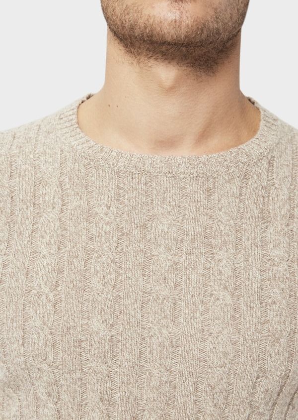 Pull en laine Mérinos mélangée col rond uni beige - Father and Sons 36528