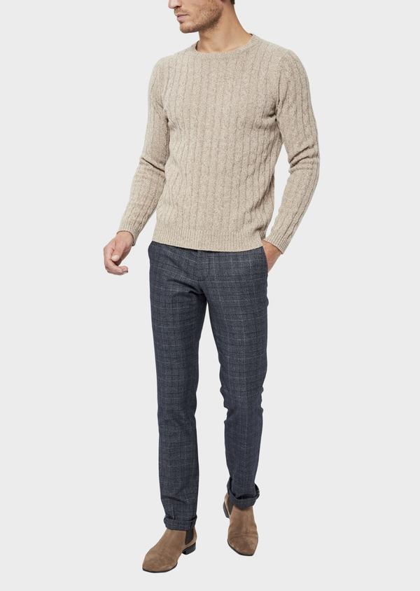 Pull en laine Mérinos mélangée col rond uni beige - Father and Sons 36526