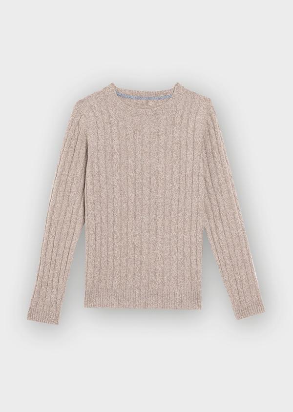 Pull en laine Mérinos mélangée col rond uni beige - Father and Sons 36524