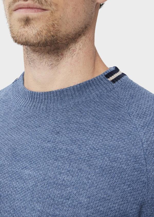 Pull en laine Mérinos mélangée col rond uni bleu chambray - Father and Sons 35412