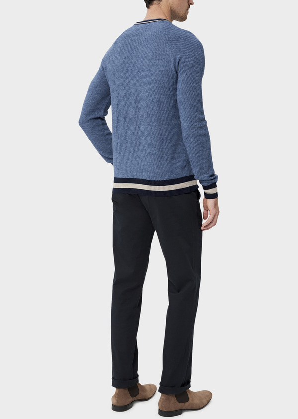 Pull en laine Mérinos mélangée col rond uni bleu chambray - Father and Sons 35411