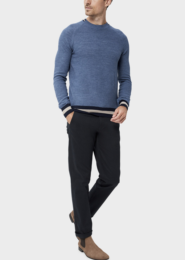 Pull en laine Mérinos mélangée col rond uni bleu chambray - Father and Sons 35410