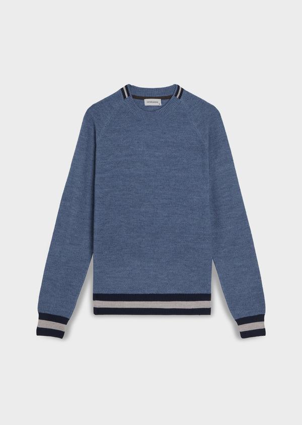Pull en laine Mérinos mélangée col rond uni bleu chambray - Father and Sons 35408