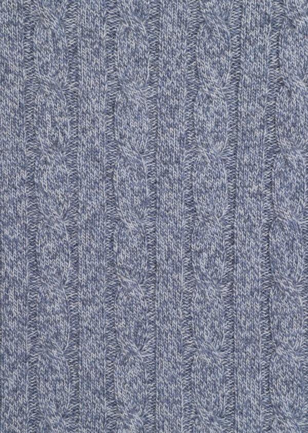 Pull en laine Mérinos mélangée col rond uni bleu chambray - Father and Sons 36182