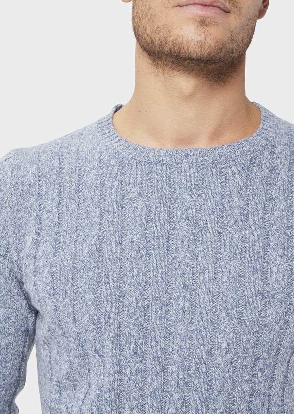 Pull en laine Mérinos mélangée col rond uni bleu chambray - Father and Sons 36185