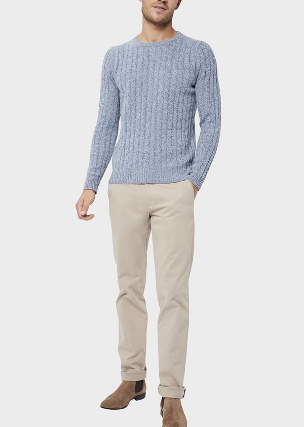Pull en laine Mérinos mélangée col rond uni bleu chambray - Father and Sons 36183