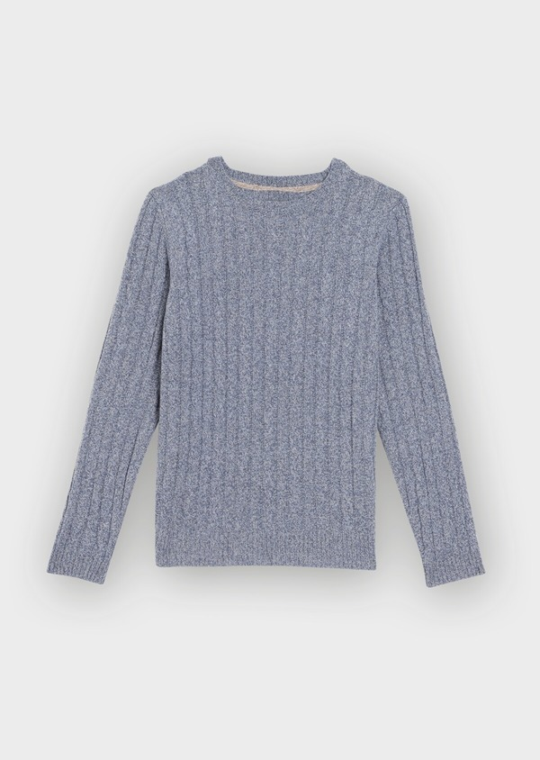 Pull en laine Mérinos mélangée col rond uni bleu chambray - Father and Sons 36181
