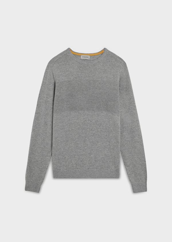 Pull en laine mélangée col rond uni gris clair - Father and Sons 35418