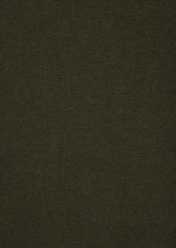 Pull en coton et soie col rond uni vert kaki - Father and Sons 36212