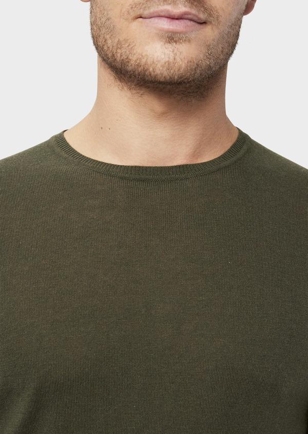 Pull en coton et soie col rond uni vert kaki - Father and Sons 36215