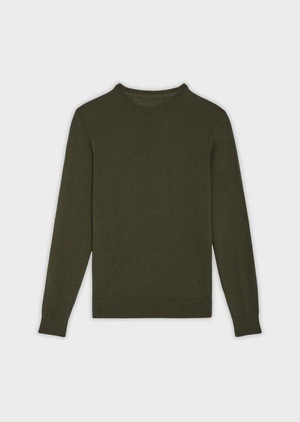 Pull en coton et soie col rond uni vert kaki - Father and Sons 36211