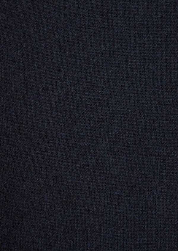 Pull en coton et soie col rond uni bleu marine - Father and Sons 36202