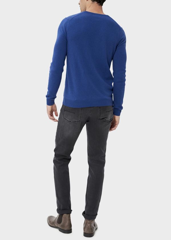Pull en laine mélangée col rond bleu à rayures diagonales ton sur ton - Father and Sons 35416