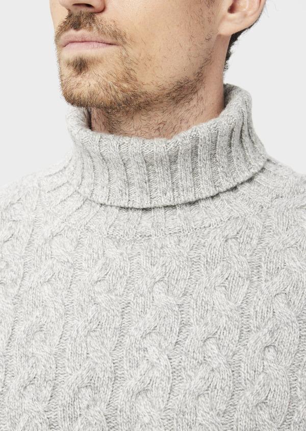 Pull en laine mélangée torsadée col roulé gris - Father and Sons 36800
