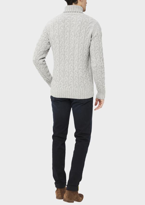 Pull en laine mélangée torsadée col roulé gris - Father and Sons 36799