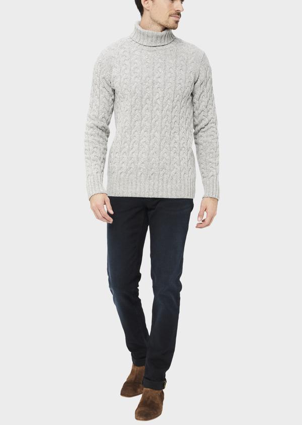 Pull en laine mélangée torsadée col roulé gris - Father and Sons 36798