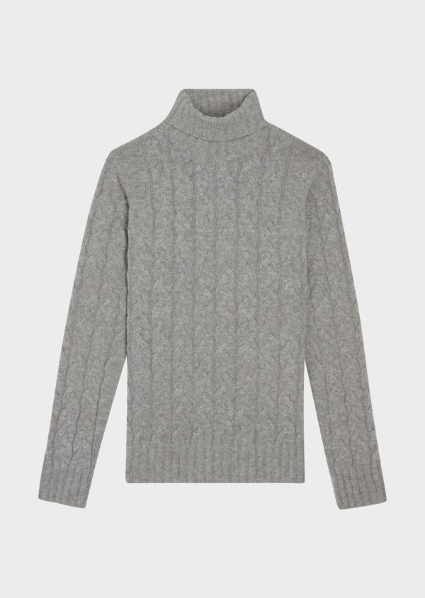Pull en laine mélangée torsadée col roulé gris - Father and Sons 36796
