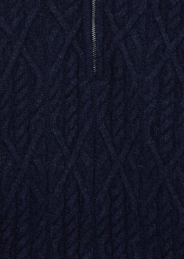 Pull en laine mélangée col zippé uni bleu foncé - Father and Sons 36817