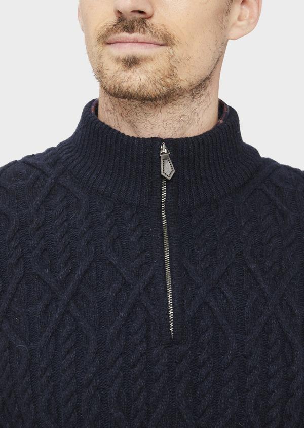 Pull en laine mélangée col zippé uni bleu foncé - Father and Sons 36820
