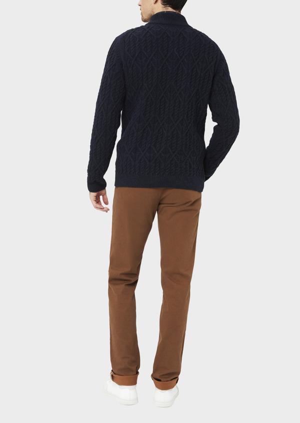 Pull en laine mélangée col zippé uni bleu foncé - Father and Sons 36819