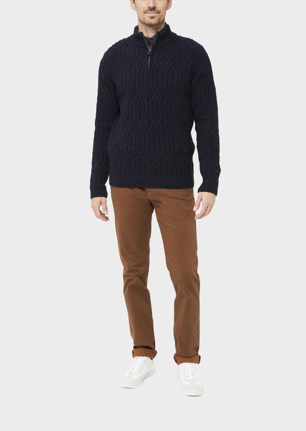Pull en laine mélangée col zippé uni bleu foncé - Father and Sons 36818
