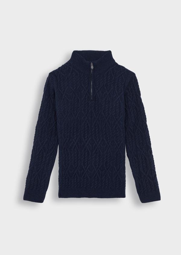 Pull en laine mélangée col zippé uni bleu foncé - Father and Sons 36816