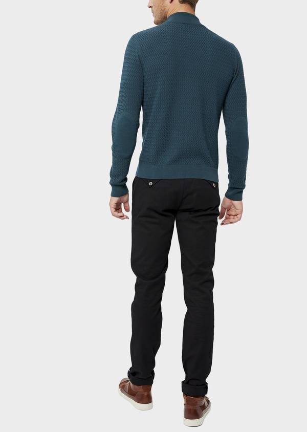 Gilet zippé en coton et cachemire uni bleu - Father and Sons 36180