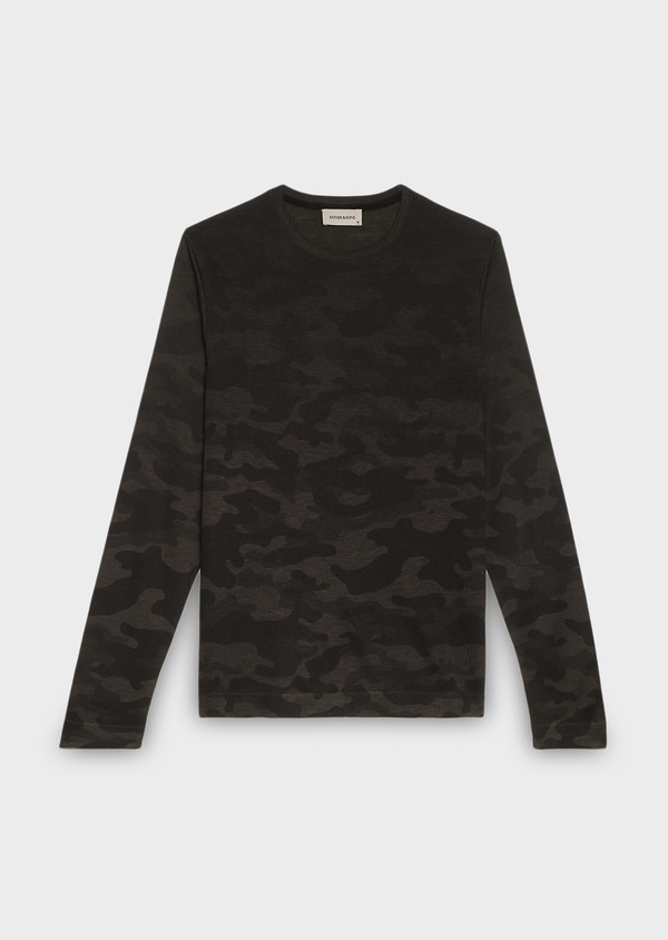Pull col rond à motif camouflage vert kaki - Father and Sons 27026