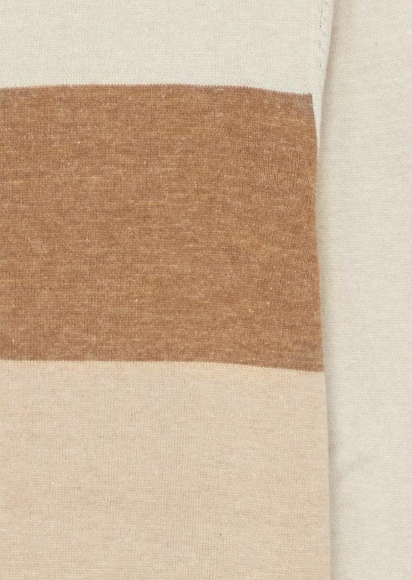 Pull en coton mélangé beige à col rond et à rayures - Father and Sons 39252