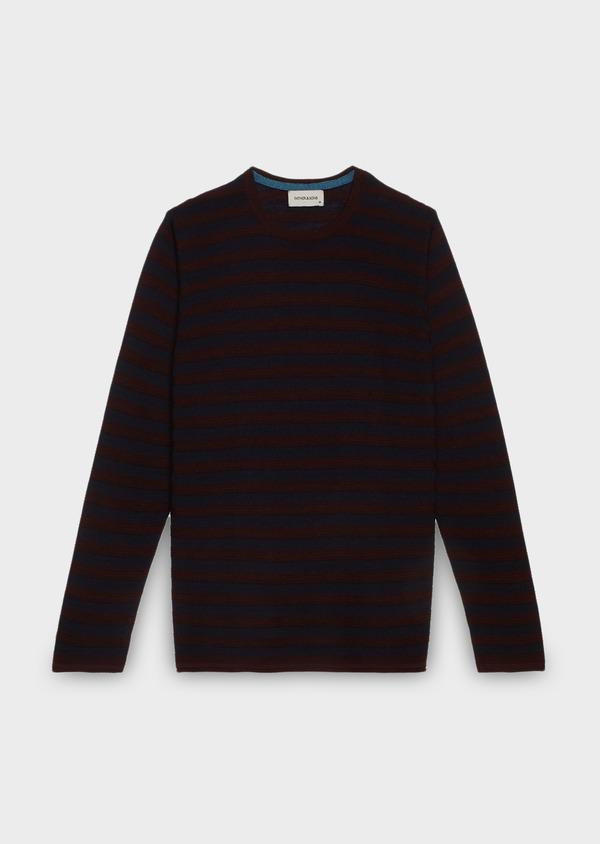 Pull en laine mérinos col rond rayé bordeaux et bleu - Father and Sons 27053