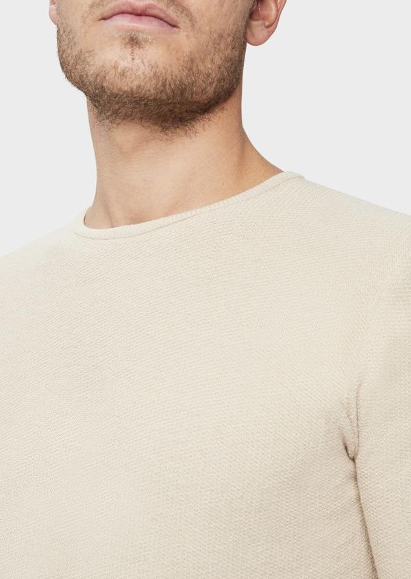 Pull en coton et lin à col rond uni beige foncé - Father and Sons 38808