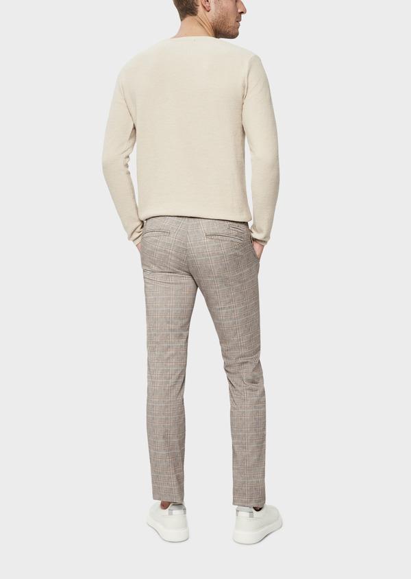 Pull en coton et lin à col rond uni beige foncé - Father and Sons 38807