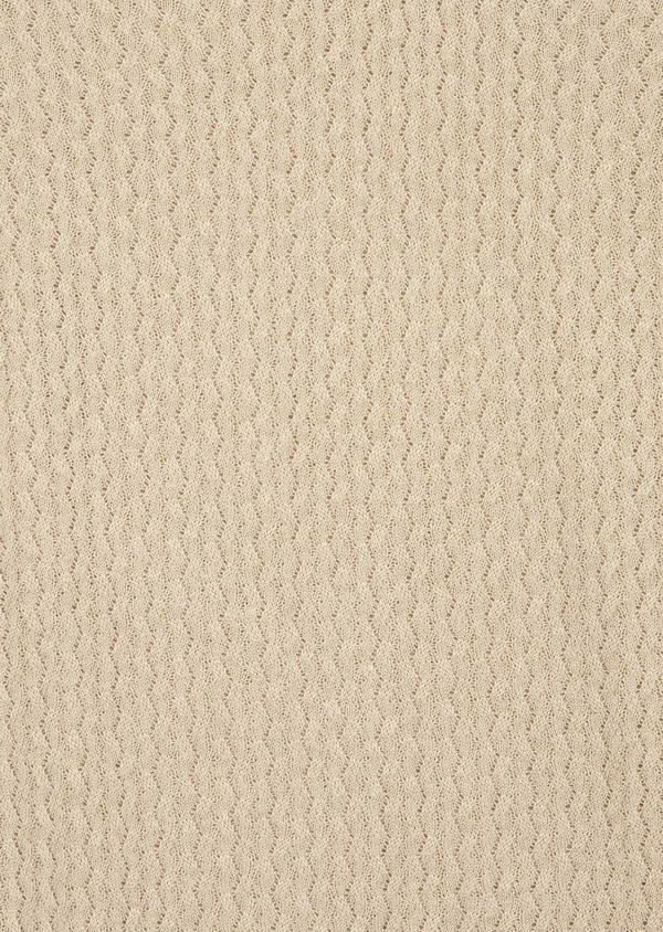 Pull en coton mélangé à col V uni beige - Father and Sons 38841