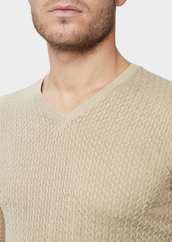 Pull en coton mélangé à col V uni beige - Father and Sons 38844