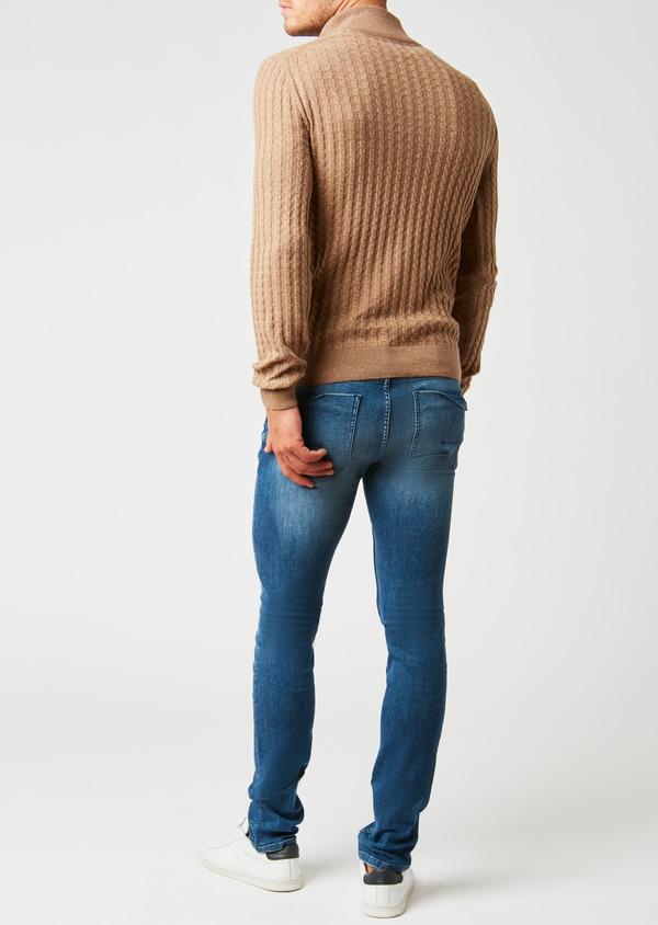 Pull en laine col montant zippé uni beige - Father and Sons 27035