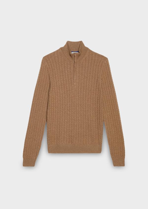 Pull en laine col montant zippé uni beige - Father and Sons 27032