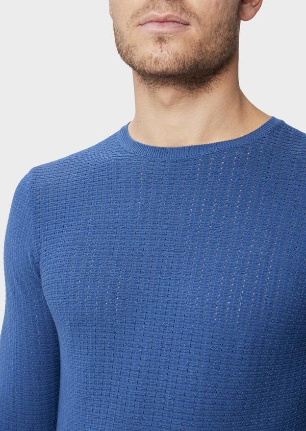 Pull en coton à col rond uni bleu - Father and Sons 38828