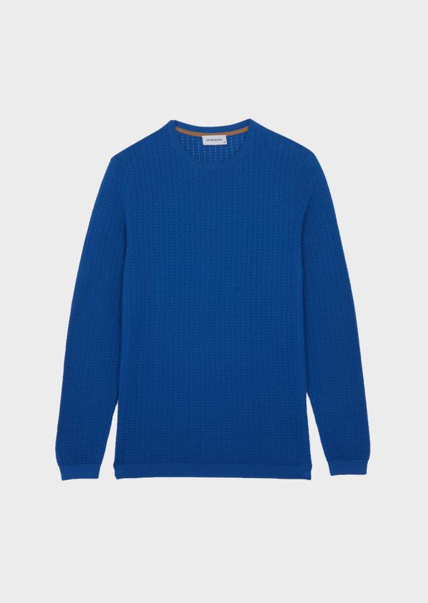 Pull en coton à col rond uni bleu - Father and Sons 38824